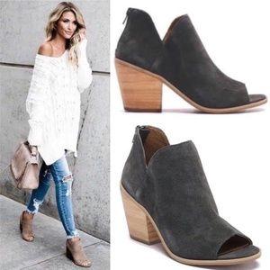 Suede Leather Peep toe Comfort Booties Grey